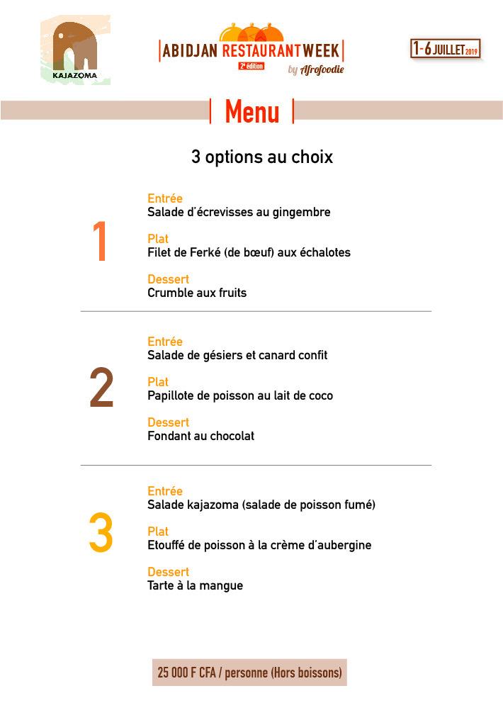 Menu Kajazoma - Abidjan Restaurant Week 2019